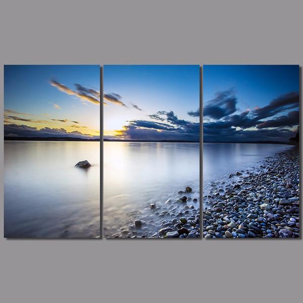 3pcs/set sea lake sun decoration stones seascape wall art pictures landscape dark blue sky Canvas Painting living room unframed