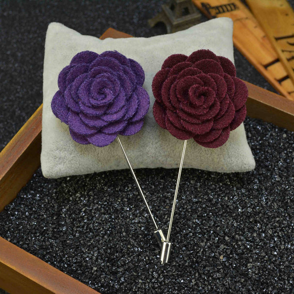 Price Cheap Fashion flower Brooch lapel Pins handmade Boutonniere Stick with Woolen cloth Camellia Flowers for suit Men Accessories 17 color