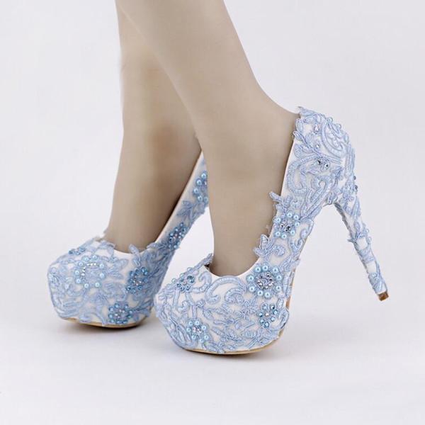 Großhandel Blaue Spitze Abschlussball Schuhe Handgemachte Rhinestone Brautkleid Schuh Plattform Formale Schuhe 5.5 Zoll Bequeme Hochzeitsfest Pumpen