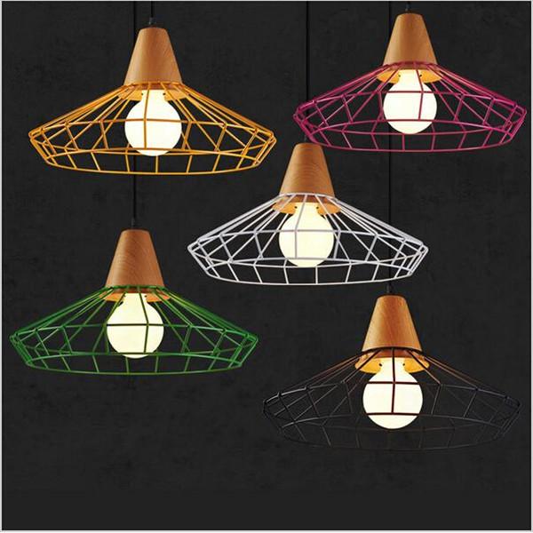 Creative design Colorful Birdcage Pendant Lamps Scandinavian Modern Minimalist Art Pyramid Iron Pendant Light Creative Restaurant Lights
