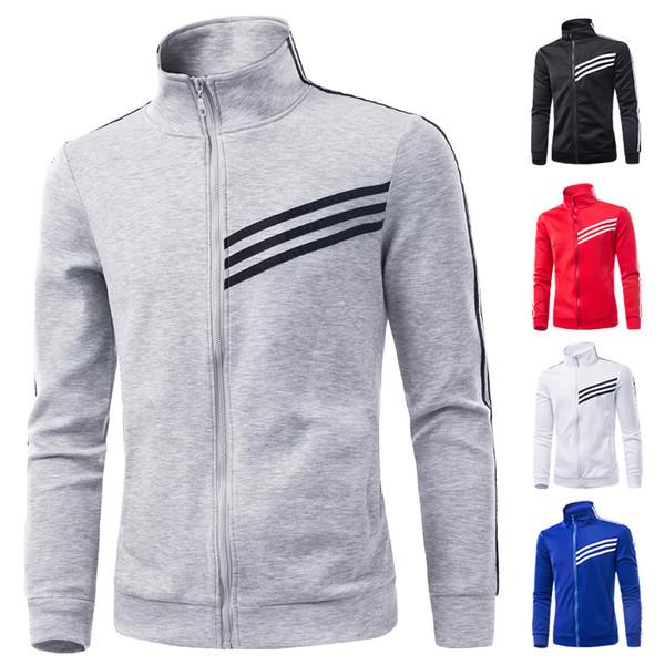 Fall-M-3XL 2016 nuove giacche sportive uomo all'aperto cappotti da corsa colletto a strisce tasche degli uomini sportivi outwear cappotto MQ104