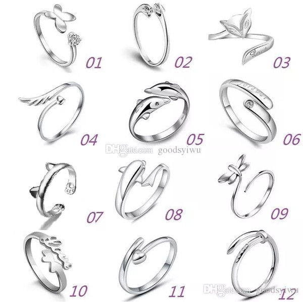 925 Sterling Silver Rings Multi Charms Dolphins Dragonfly Wings Of The Angel Love Fox Butterfly Opening Adjustable Ring For Women