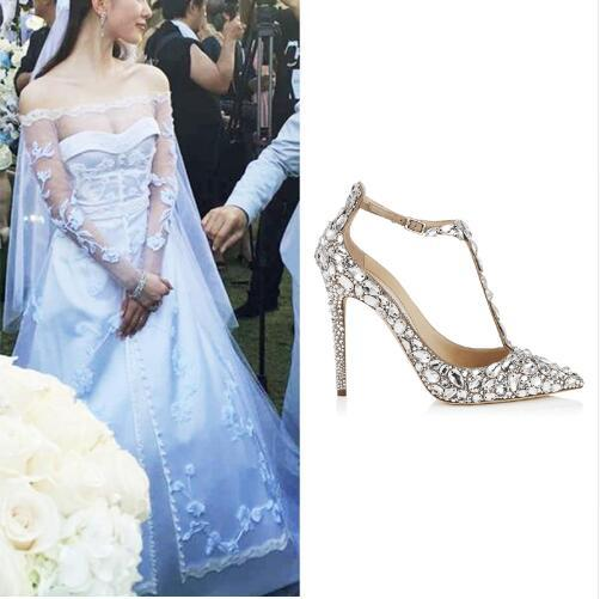 ddd398d72637d5 Luxury Diamond Wedding Shoe Jeweled Heel Gladiator Sandals Women Rhinestone  Crystal Embellished T Strap Summer Party Shoes