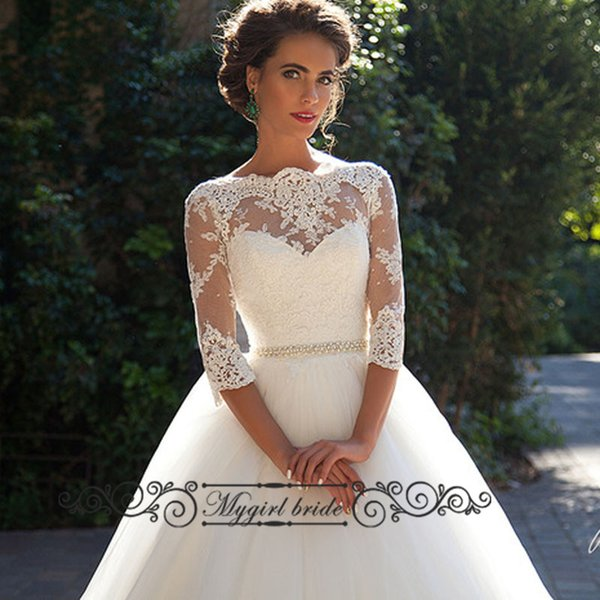 Discount Three Quarter Sleeve Wedding Dresses 2016 Tulle With Lace ...