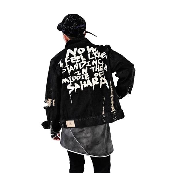 2018 Homme Graffiti Vestes Hommes Veste Hip En Automne Acheter Denim pOZwAqx
