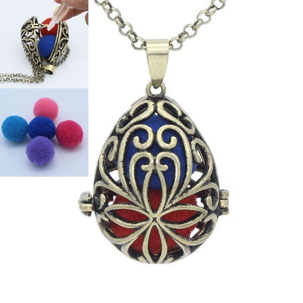Antique Bronze Waterdrop Hollow Flower Locket Cage Pendant For Essential Oil Aromatherapy Diffuser Chain Necklace Jewelry Charms Gift