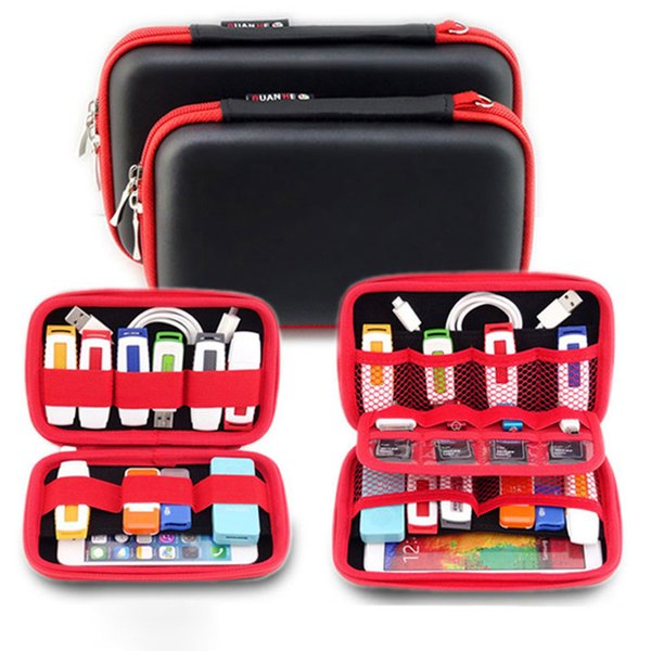 Wholesale- Portable Digital Products Accessories Storage Bag for HDD, Phone, USB Cable, U Disk, SD Card, Power Bank Travel Organizer Pouch