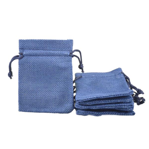 7x9cm Jute Drawstring jewelry Bags Gift Small burlap package bags Wedding Favor 50pcs 2.5x3.3'' Dark Blue
