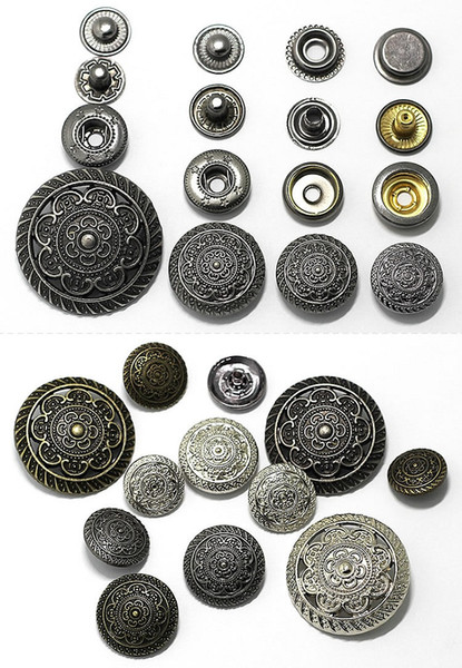 15/17/20/30/25mm 4in one Snap Buttons Fasteners Pres prong Stud vintage metal rivet for handmade Gift Craft DIY Sewing wallet handbag
