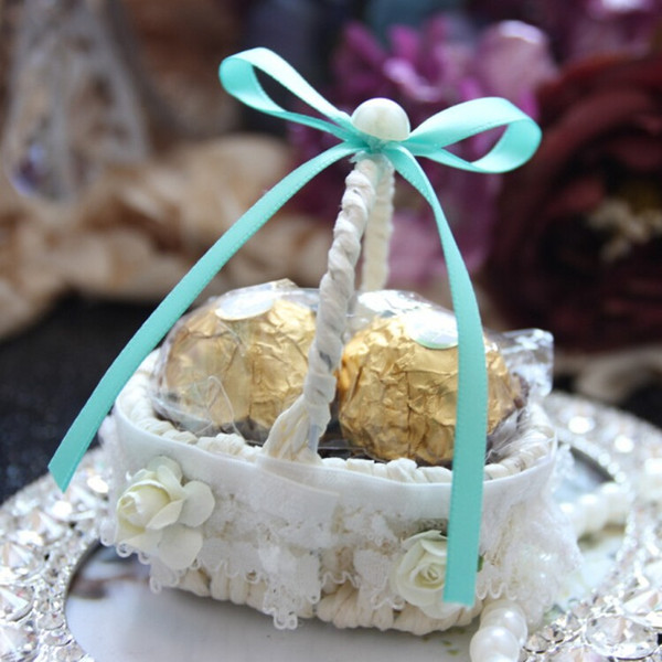 Upscale Lace Flower Side Bamboo Basket Design Yarn Wedding Candy Box Party Favor Chocolate Boxes 7 Color Available free shipping