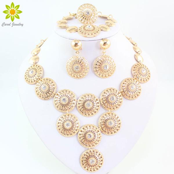 Novos Encantos Cristal Claro Strass Ouro / Prata Banhado Indiano Casamento Nupcial Set Jóias Conjuntos de Jóias Mulheres Traje Do Vintage