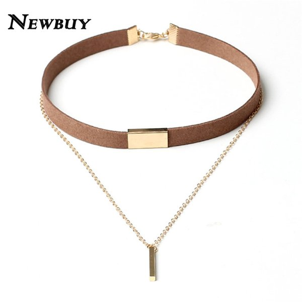 Newbuy 2017 New Black Velvet Choker Necklace Gold -Color Chain Chokers Chocker Necklace For Women Collares Mujer Collier Female