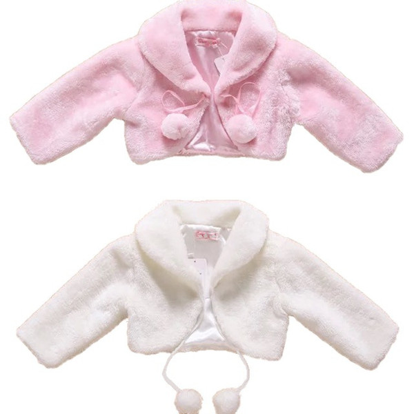 New Flower Girls Wedding Party Faux Fur Wedding Bridal Jacket Coat Evening Bolero Kids Fall Winter Shrug Jackets In Stock