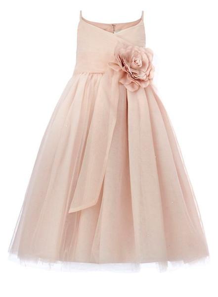 2017 blush rosa tule vestidos de dama de honra júnior a linha de cintas de espaguete real foto criança little kids vestidos de festa de casamento