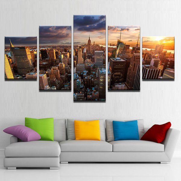 5 Pcs/Set Framed Printed New York City Building Sunset Landscape Poster Modern Home Wall Decor Canvas Picture Art HD Print Painting