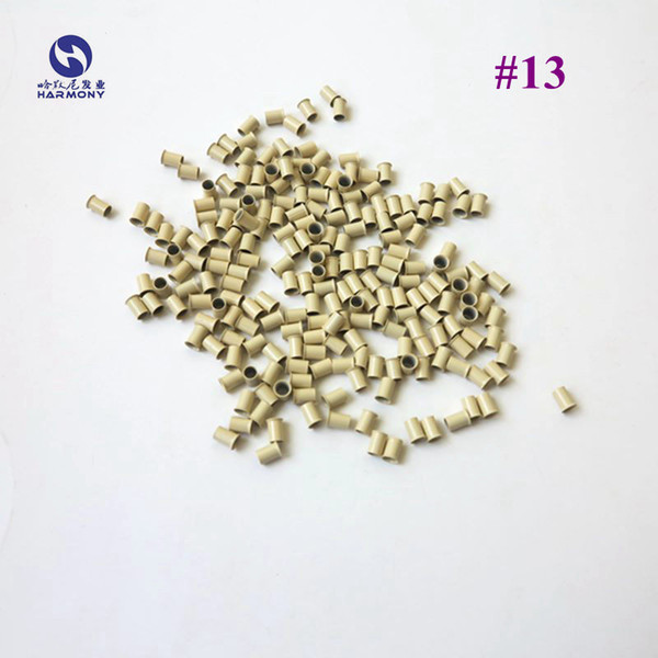 Free shipping Blonde Color hair extension copper bell tubes flared end micro ring beads for I-tip hair (500pcs/bag, 4.0mm x 3.6mm x 6mm )