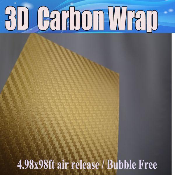 Ouro 3D De Fibra De Carbono envoltório de Vinil de carbono Fogo 3d Car Wrap Film com liberação de ar Para o Veículo / mesa / barco / loptop tamanho da pele 1.52x30 m / rRoll