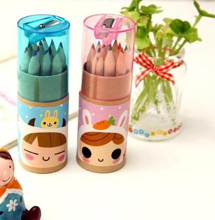 New Design 5Box /Lot 12Colors Colored Pencils New Cute Little Girl Wooden Writing Painting Pencils For Kids School Supplies