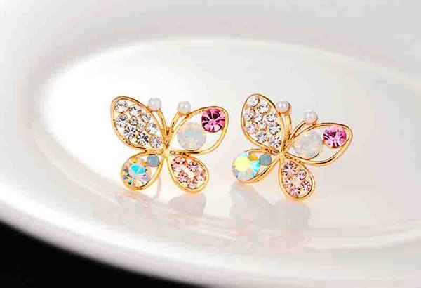 best selling High Quality Women Hollow Butterfly Insect Colorful Crystal Pearl Stud Earrings Wedding Party Gift Diamond Stud Earrings