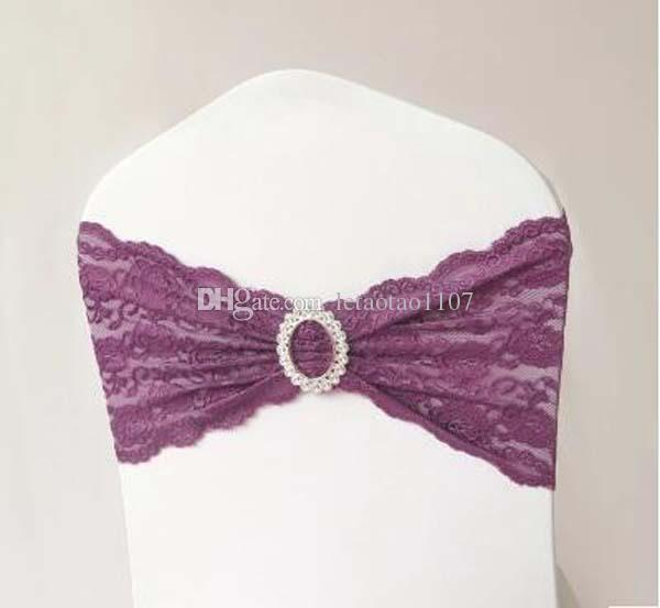 Lace Chair Bands 10 Colors Wedding Party Banquet Home Lace Spandex With Rhinestones For Chair Covers Free Shipping Chair Sashes Bows