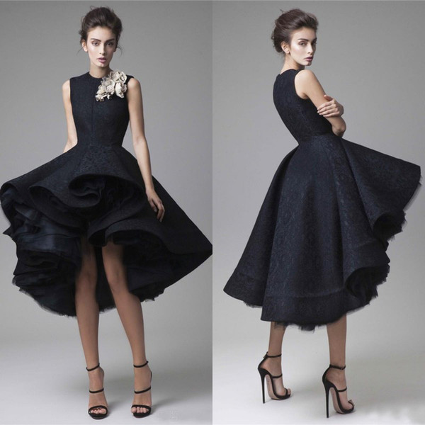 krikor Jabotian High Low Black Lace Dresses Evening Wear 2016 Modest Jewel Tulle Puffy Short High Low Prom Gowns Custom Made China EN6279