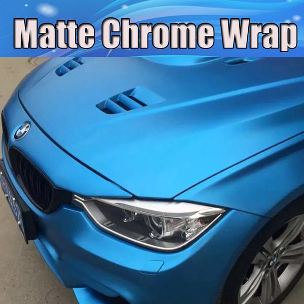 blu opaco titanio satinato cromato opaco Viny Wrap con bolle d'aria libere Con Air Channle Per adesivi auto pellicola copertura integrale 1.52x20m / Roll 5x65ft