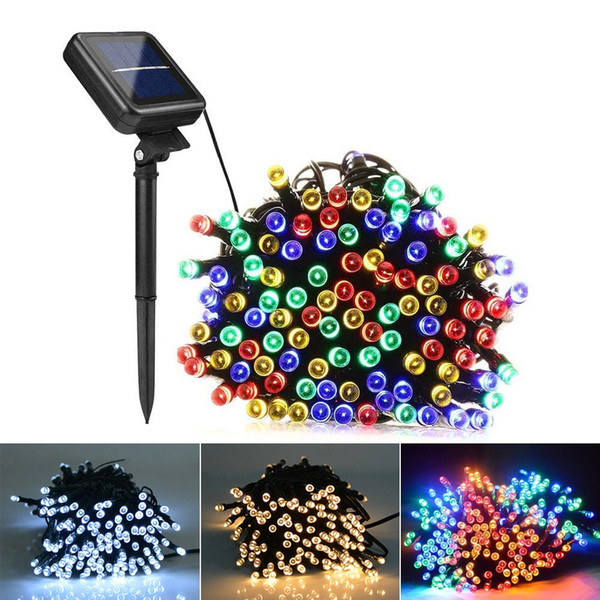 top popular 7m 12m 22m Solar Lamps LED String Lights 100 200 LEDS Outdoor Fairy Holiday Christmas Party Garlands Solar Lawn Garden Lights Waterproof 2019
