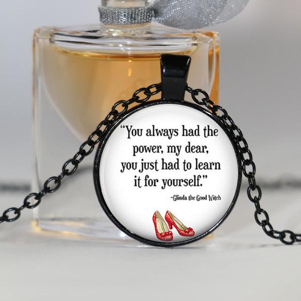 Você sempre teve o poder colar, mágico de Oz jóias, mágico de Oz colar, moda prateado gargantilha colar