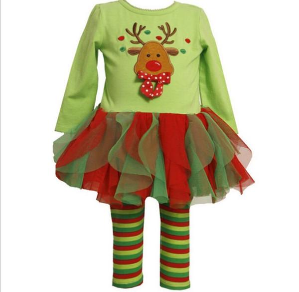 Christmas baby girls dress sets tutu skirts+stripe leggings kids sets children cotton Snowman suits baby sets dress+pants 1set pack SDF004