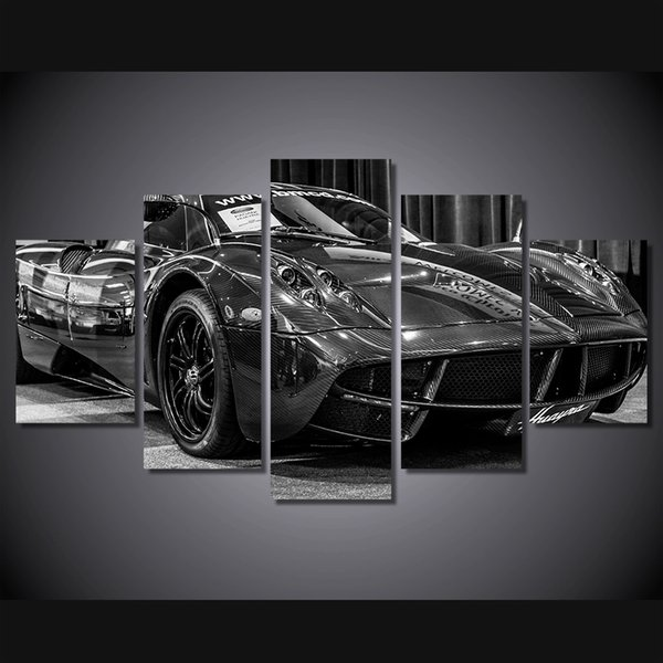 5 Pcs/Set HD Printed Black luxury sports car Painting Canvas Print room decor print poster picture canvas cuadros
