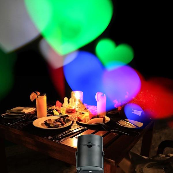 AC85-260V 4W Mini LED RGB Lampada da palco effetto luce con 4 carte multi-pattern intercambiabili per la festa di compleanno Decorazione di Halloween