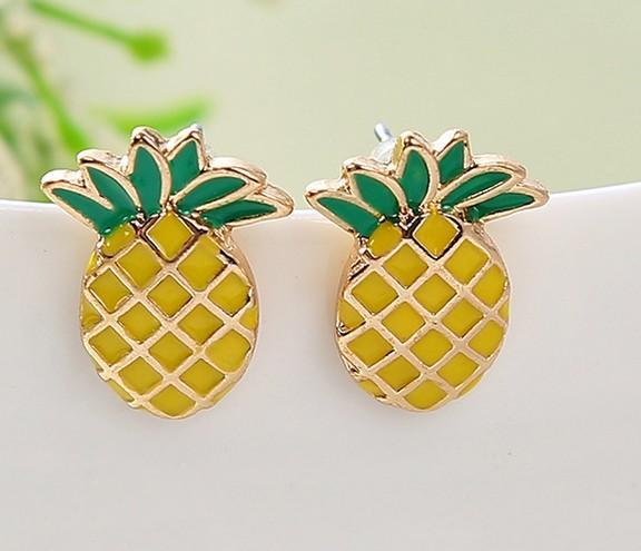 Lovely girls earrings alloy 18K gold plated pineapple 24 pcs lot ear studs ear pinsl ear jewelry gifts for her