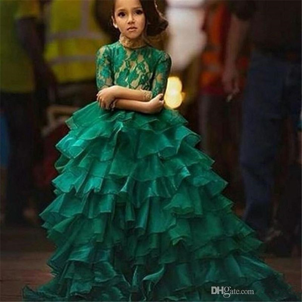 2019 Emerald Green Junior Girl's Pageant Dresses For Teens Princess Flower Girl Dresses Birthday Party Dress Ball Gown Organza Long Sleeve