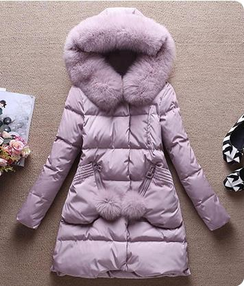 Korean fashion Winter new women's big real fox fur hooded white duck down medium long parka coat casacos candy color plus size SMLXL