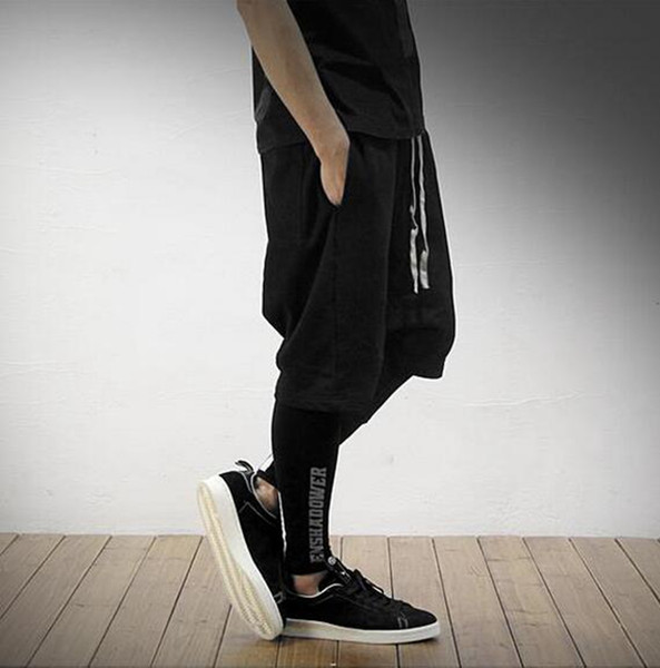 Men's cultivate one's morality personality movement big fork across pants code loose harlan 5 minutes of pants / custom