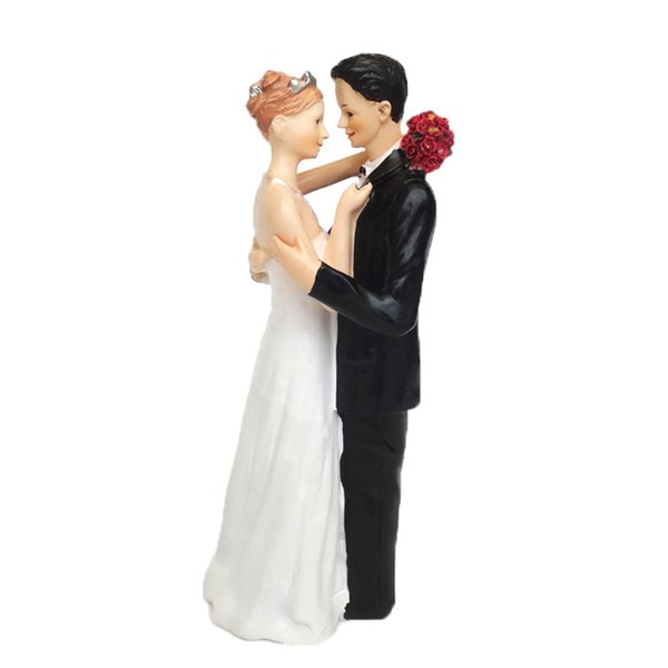 Wedding Cake Topper with Bride and Groom Couple Figurine Affectionate Cake Decoration for Wedding Anniversary Party