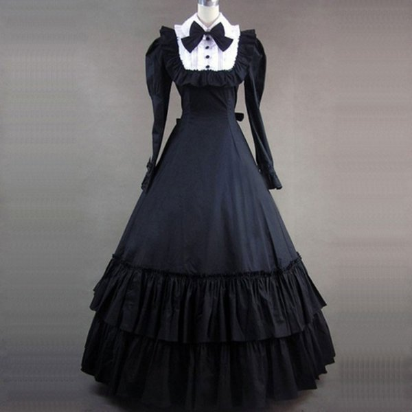 Can be Custom 2015 wholesale Black long Sleeve Cotton 18th Victorian Gothic Lolita Dresses For ladies