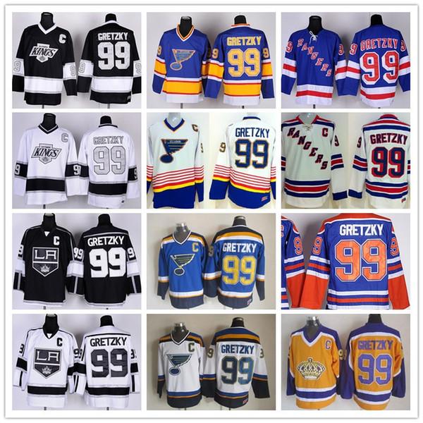 Nova Iorque Rangers 99 Wayne Gretzky Jerseys Hóquei St Louis Blues Homens LA Los Angeles Reis Vintage Azul Branco Preto Amarelo Laranja