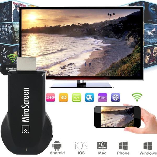 Atacado-MiraScreen HDMI 2.4 GHz Wi-fi AirPlay Miracast DLNA sem fio HD Media Display 1080 P Dongle Receptor de TV HDTV