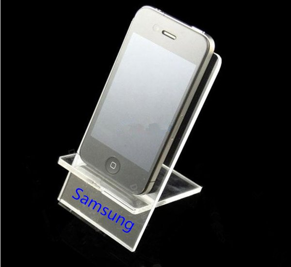 Wholesale Clear Acrylic Large screen Mobile cell phone display stand holder racks for Samsung 100PCS big