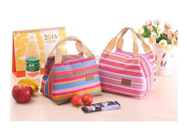 Factory Price!!! Lunch Totes Bag Thermal Insulated Portable Cool Canvas Stripe Carry Case Picnic