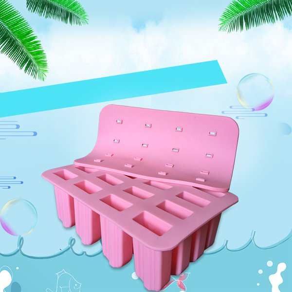 Free Shipping New Style Silicone Popsicle Mold 16 Cuboid Shape Ice Cream Mold with Lid Ice Lolly Cake Mold Baking Tool