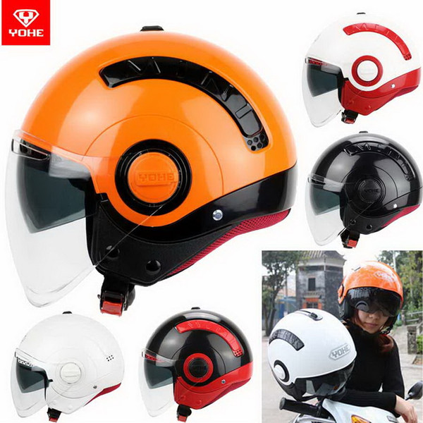 2016 New Summer YOHE double lenses half face motorcycle helmet young men and women fashion MINI Electric bicycle helmets made of ABS