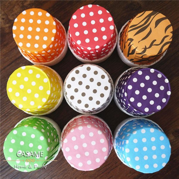 bake cupcake muffin cases wholesale Polka Dot Paper Muffin Baking Cups Various Color 45*35 for baby shower party favors cupcake 160406#