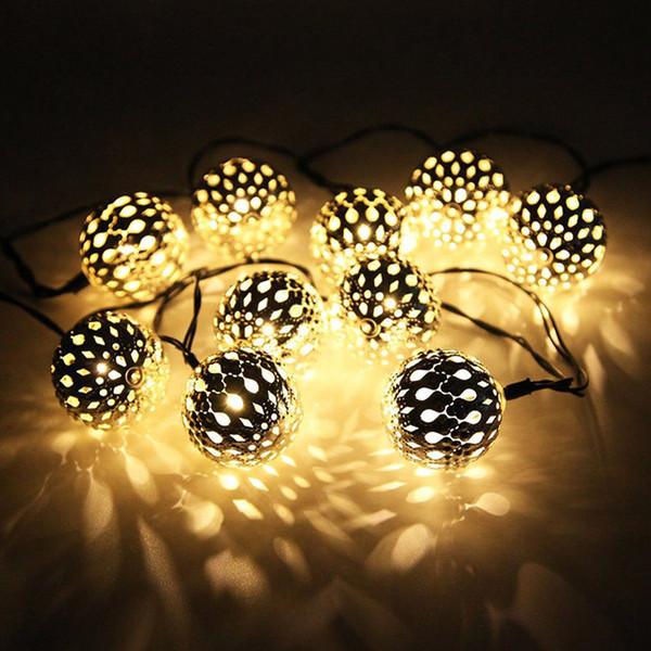 10 marokkanische Metall Ball solarbetriebene String Lantern LED Indoor oder Outdoor Lichterkette (weiß / warmweiß)