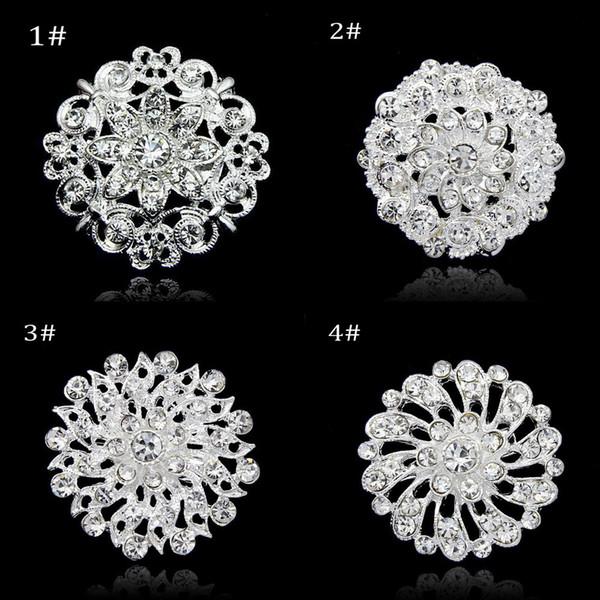 Silver Color Clear Rhinestone Crystal Diamante Small Flower Collar Brooch Wedding Dress Pin Brooch DHL free shipping