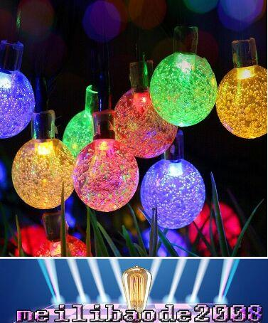 Luz de hadas LED, 20 pies 30 Bola de cristal LED Luces impermeables para exteriores al aire libre Luces estrelladas de hadas con luz solar para el jardín, Yarda, Hogar MYY