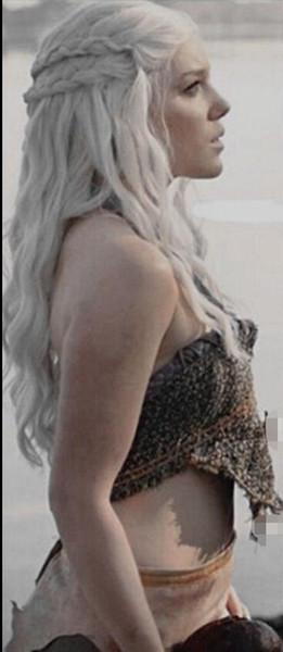 100% Nagelneu und Hohe Qualität Mode Bild volle spitze perückenDragon Prinzessin Game of Thrones silber grau cosplay perücken