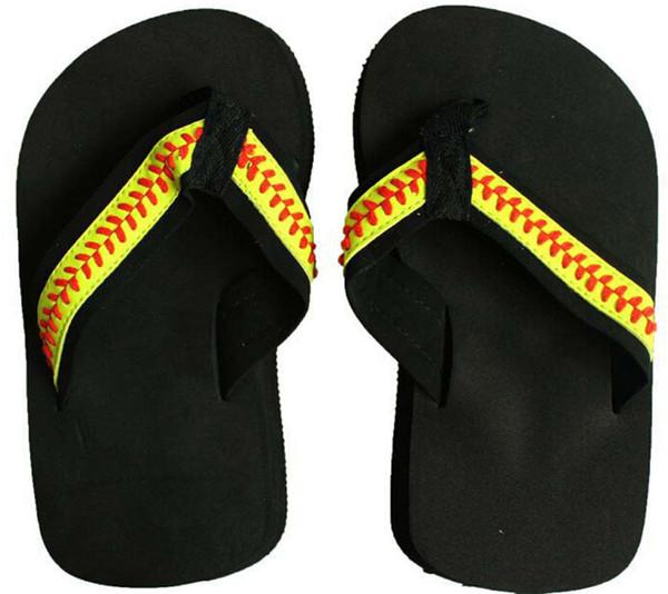 2018 Free shipping yellow softball flip flop Baseball white leather sandals rhinestone decals big flower shape men beach sports sandals