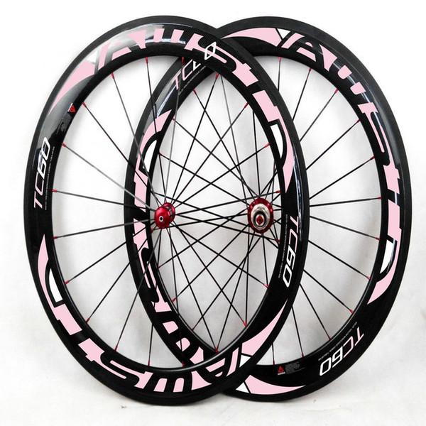 AWST 700C 60mm depth 23/25mm Clincher/Tubular Carbon rims powerway hubs road bike wheelset carbon bicycle wheels baselt braking surface